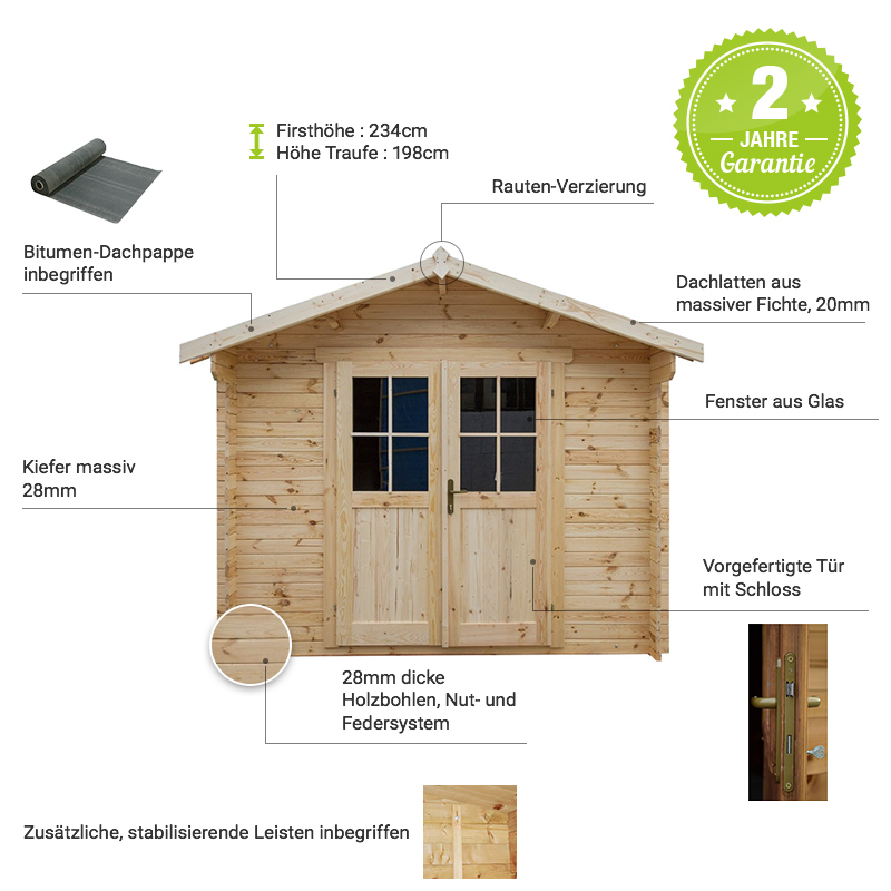gartenhaus aus massivholz 9m plus holzbohlen 28mm gardy shelter. Black Bedroom Furniture Sets. Home Design Ideas